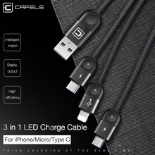 Cafele 3 in 1 Led Light USB Cable Micro Type C Charging for iPhone huawei xiaomi samsung 130cm Data Sync
