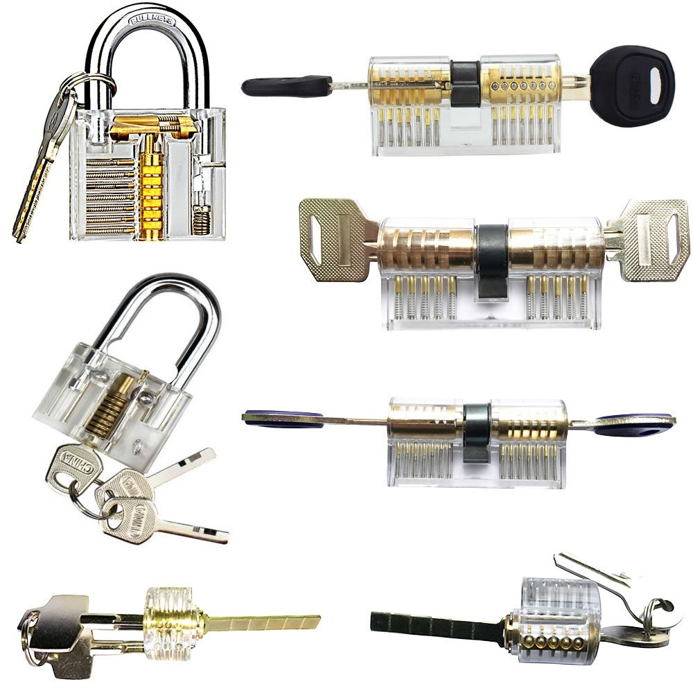7 in 1 Practice Lock Set Transparent Cutaway Practicing Beautiful and Practical Training Skill For Locksmith tools free shipping with transparent cutaway new type vw practice auto lock for training practice