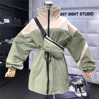 2019 Autumn Long Jacket Womens Streetwear Patchwork Windbreaker Basic Jackets Coats Ladies harajuku Outerwear chaqueta mujer