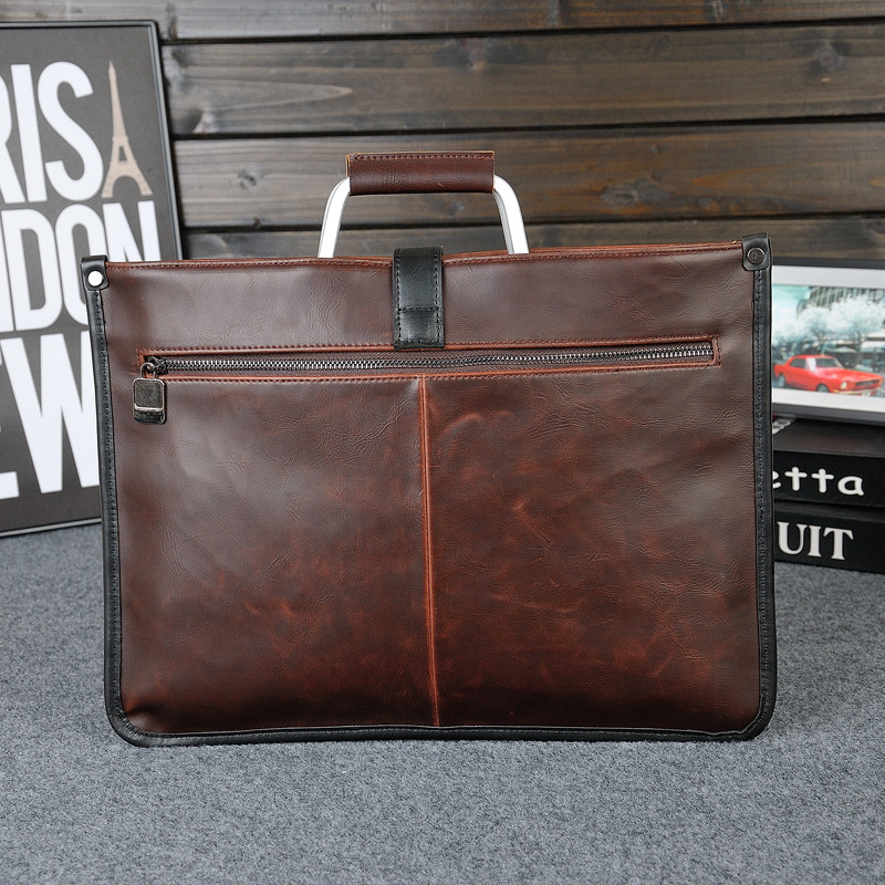 Simple Design Leather Men Briefcase With Metal Handle Business Men Document Bag Classic Office Mens Bags Men Handbag
