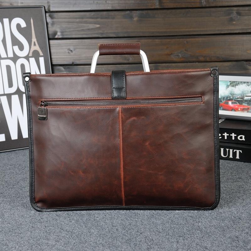 Simple Design Leather Men Briefcase With Metal Handle Business Men Document Bag Classic Office Mens Bags Men Handbag