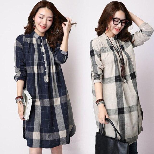daa9a303d0e Spring And Summer Women s Plus Size Shirt Long-sleeve Plaid Shirt Loose  Medium-long Fluid Shirt