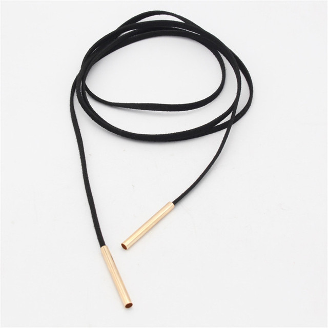 Black Leather Cord Chocker Necklace With Gold Or Silver End Tips