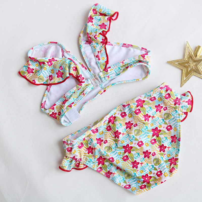 2-14 jahre Baby Mädchen Bikini Kinder Badeanzug Kinder Zwei Stück Kinder Bademode Floral Mädchen Badeanzug Jugendliche Schwimmen anzug