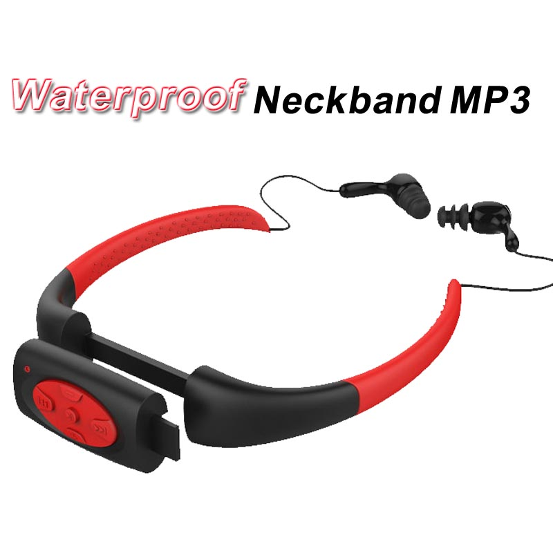 Waterproof  8GB 8G IPX8 MP3 Music Player Underwater Sports Neckband Swimming Diving With FM Radio Earphone Stereo Headphone Mp3