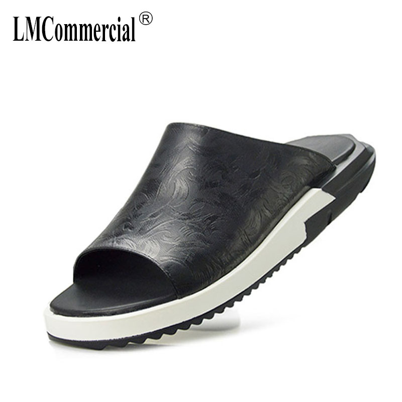 New Summer Fashion Personality One-word Sandy Beach Leather Roman Casual Mens Shoes Fender Summer Men Genuine Leather Slippers