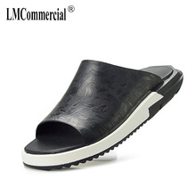 new summer fashion personality one-word sandy beach leather Roman casual mens shoes fender men genuine slippers
