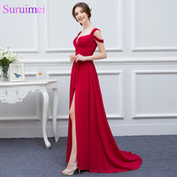 Red Sexy Girls Prom Dresses Floor Length Chiffon High Slit Long Prom Gown