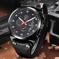 Fashion Luxury Sport Wrist Watch Men Leather Band Quartz Wristwatch Army Black Clock Male Relogio Masculino