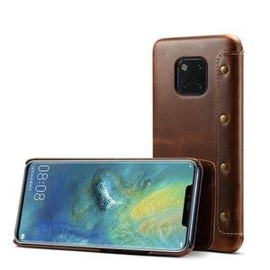 Image 3 - Gerçek deri Huawei Mate 20 Pro Mate20 Funda Huawei Mate 20 Pro kılıf kapak cüzdan Retro Etui Huawei mate 20 Case LYA L29