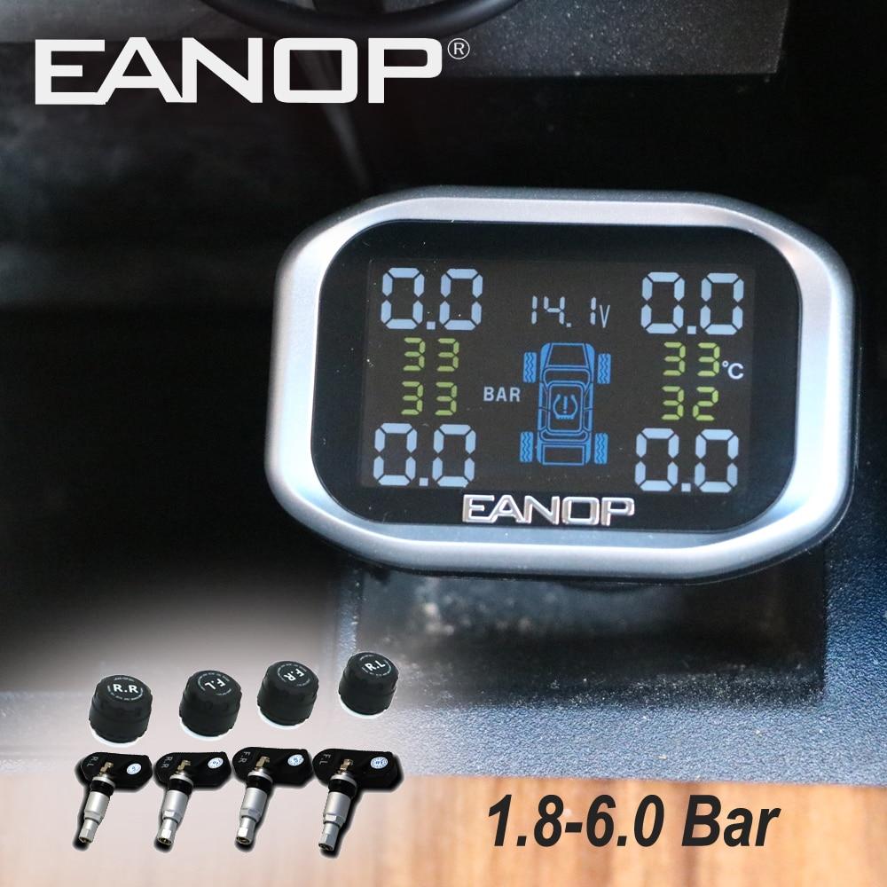 EANOP C200 автомобиль TPMS 1,8 дюймов ЖК-дисплей дисплей прикуривателя Беспроводной реального времени шины Температура 1,8-6.0Bar 26-87PSI