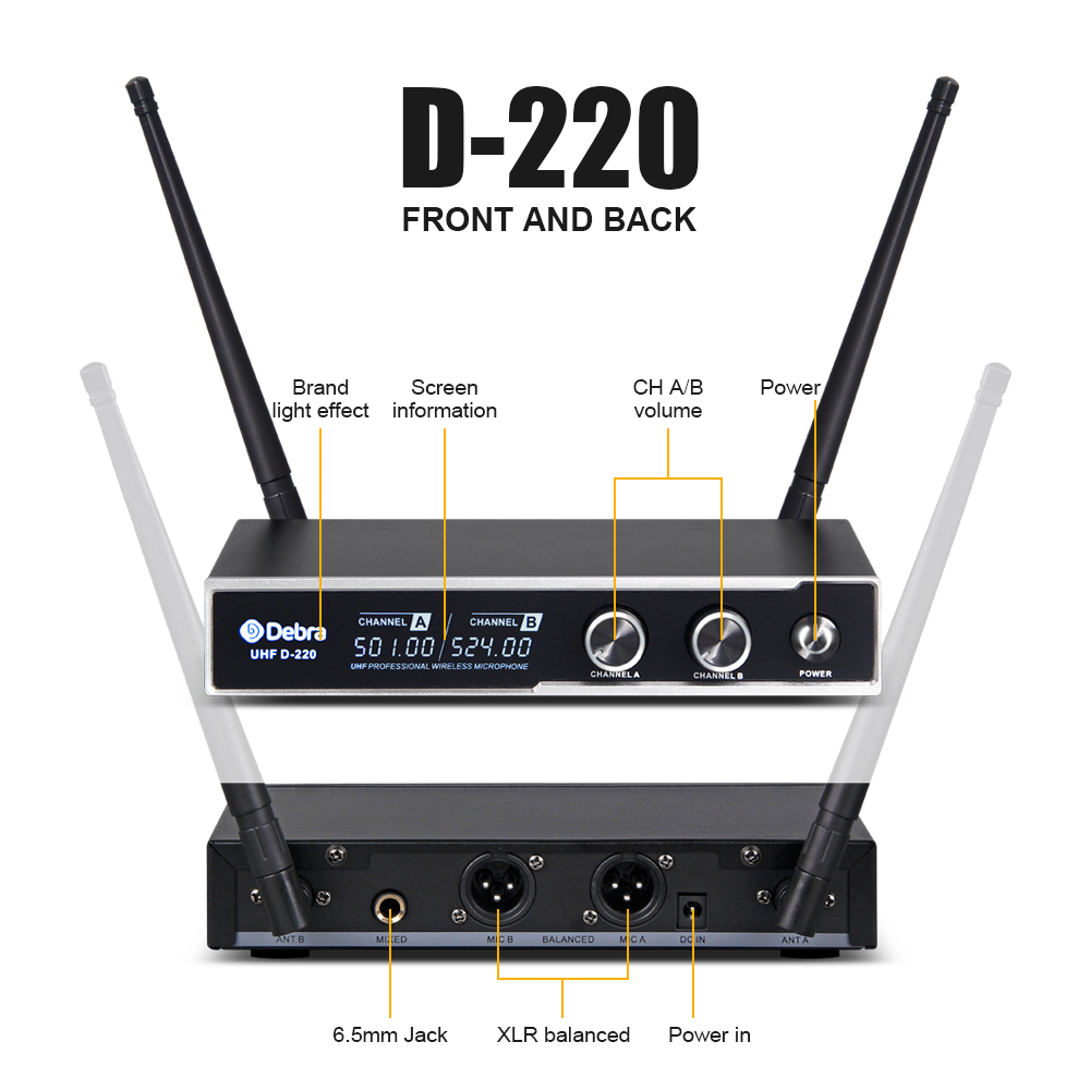 Good sound Debra Audio D 220 2Channel with Handheld or Lavalier Headset Mic UHF Wireless Microphone System for karaoke in Microphones from Consumer Electronics