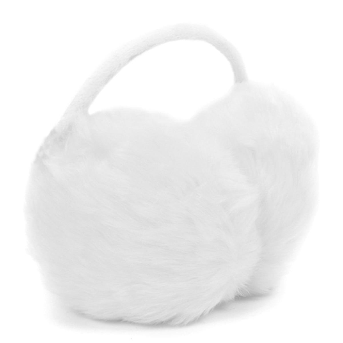NEW Lady Plastic Frame White Fluffy Ear Warmers Earmuffs