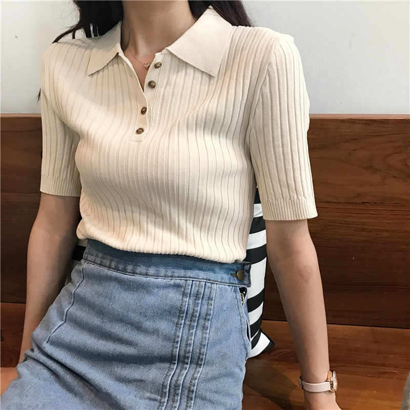 7f03cb9d12fc Petite Classic Knitted T Shirt Women Top Summer Kawai Solid Lady Tee Shirt  Femme Chemise Camiseta