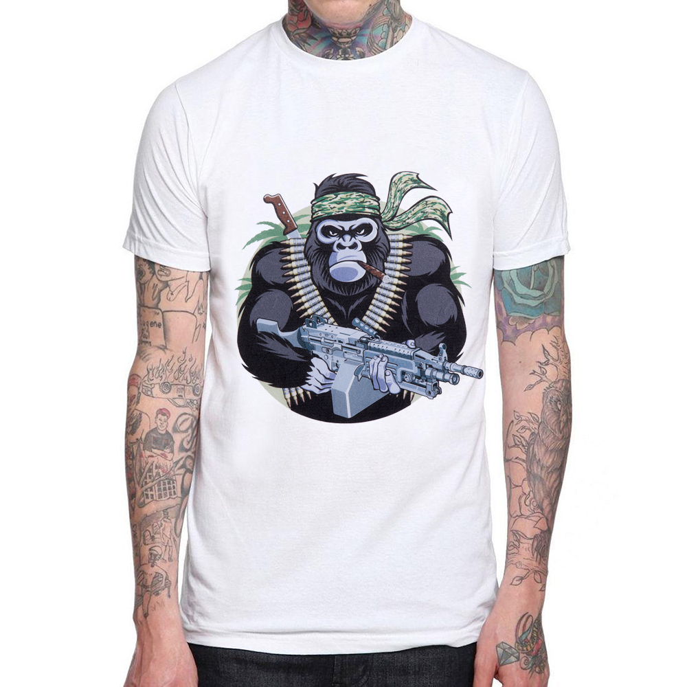 987ed21a7f7c40 New Fashion Chimpanzee Printed Men t-shirt Male Cotton Short Sleeve Cartoon  Design Hipster M Tops Casual Cool Tee Mens T shirt