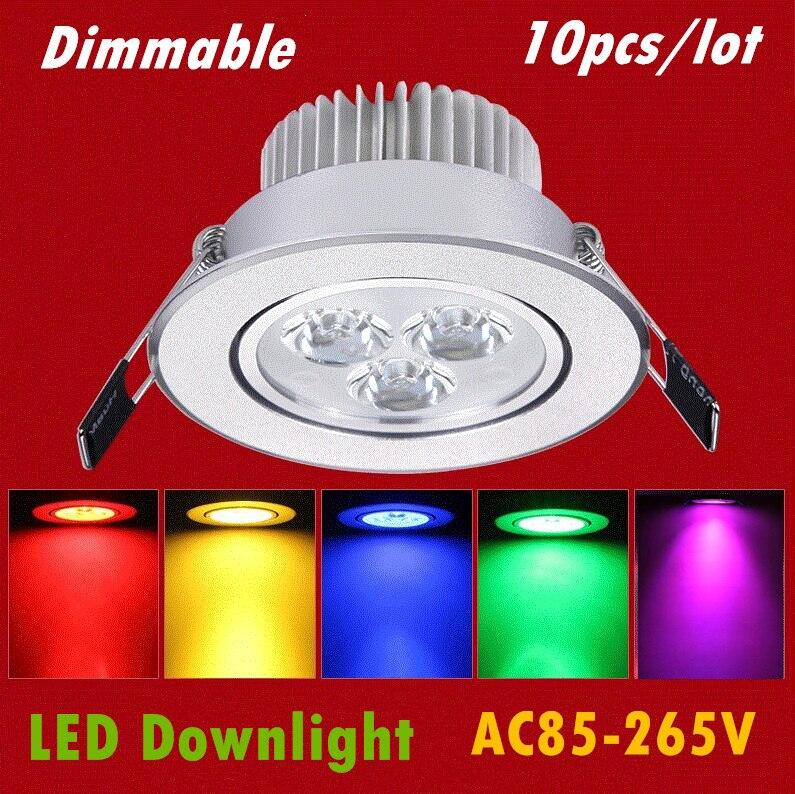 10 шт./лот светодиодный светильник 3 Вт 4 Вт 5 Вт 7 Вт светодиодный потолка вниз фары Встраиваемые Светодиодный светильник красные, синие зелен...