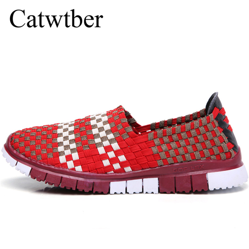Catwtber Casual Flats Shoes Woman Fashion Female Handmade Women Woven Shoes Summer Size Slip-on Flat Shoes Women Chaussure Femme women shoes summer flat female loafers women casual flats woven shoes sneakers slip on colorful walking shoe plus size 41
