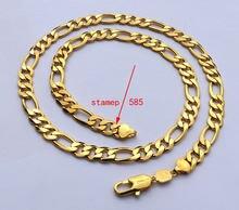 Colar com corrente gf figaro 18 k, colar com gravura sólida, amarelo fino, dourado, comprimento de 8mm, ligação italiana 24