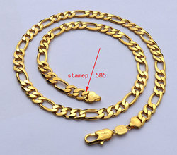 Collier en acier solide marqué or 18 k, jaune fin, Gf, chaîne Figaro, longueurs du collier, 8mm, lien italien, 24 pouces