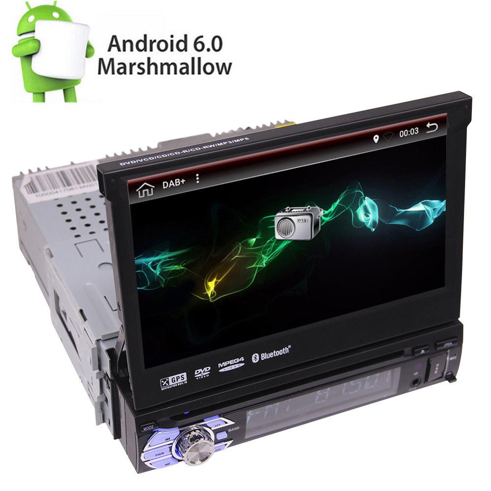 1 Din 7 pouces Android 6.0 autoradio GPS Navi Player 3G Wifi OBD2 DAB +