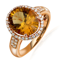 Natural Citrine Ring 925 Sterling silver Yellow Crystal Woman Fashion Fine Elegant Jewelry Princess Queen Birthstone Gift
