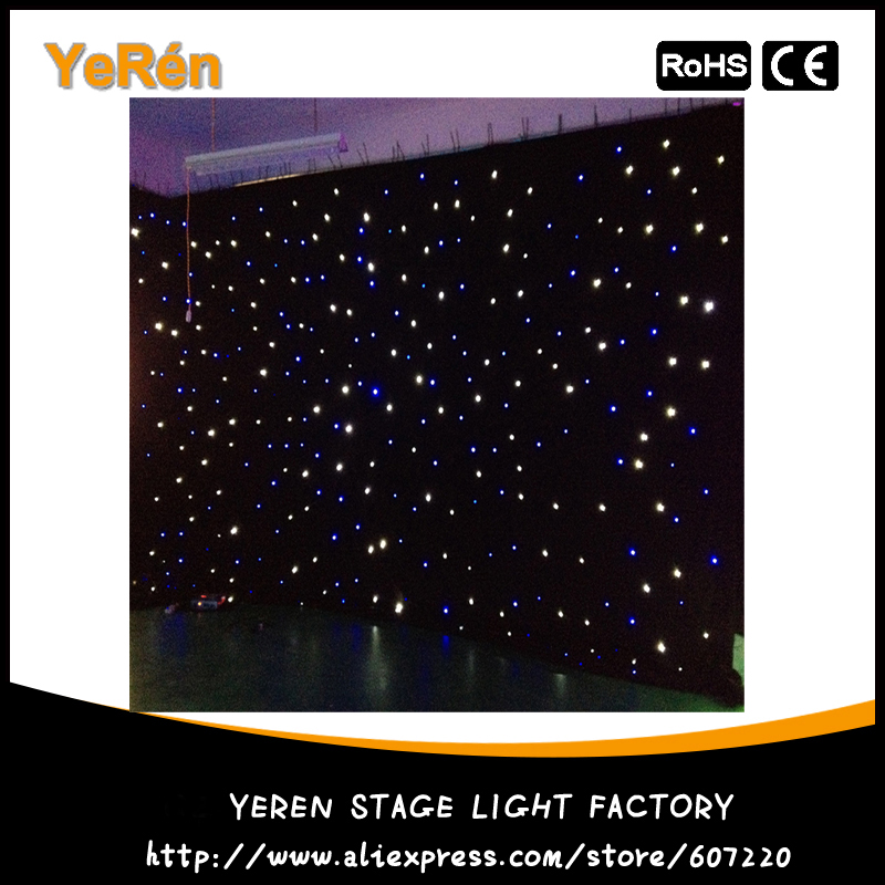 Led Star Cloth Led Star Curtain wedding Stage light Background 4*6M White & Blue Color for backdrop ...