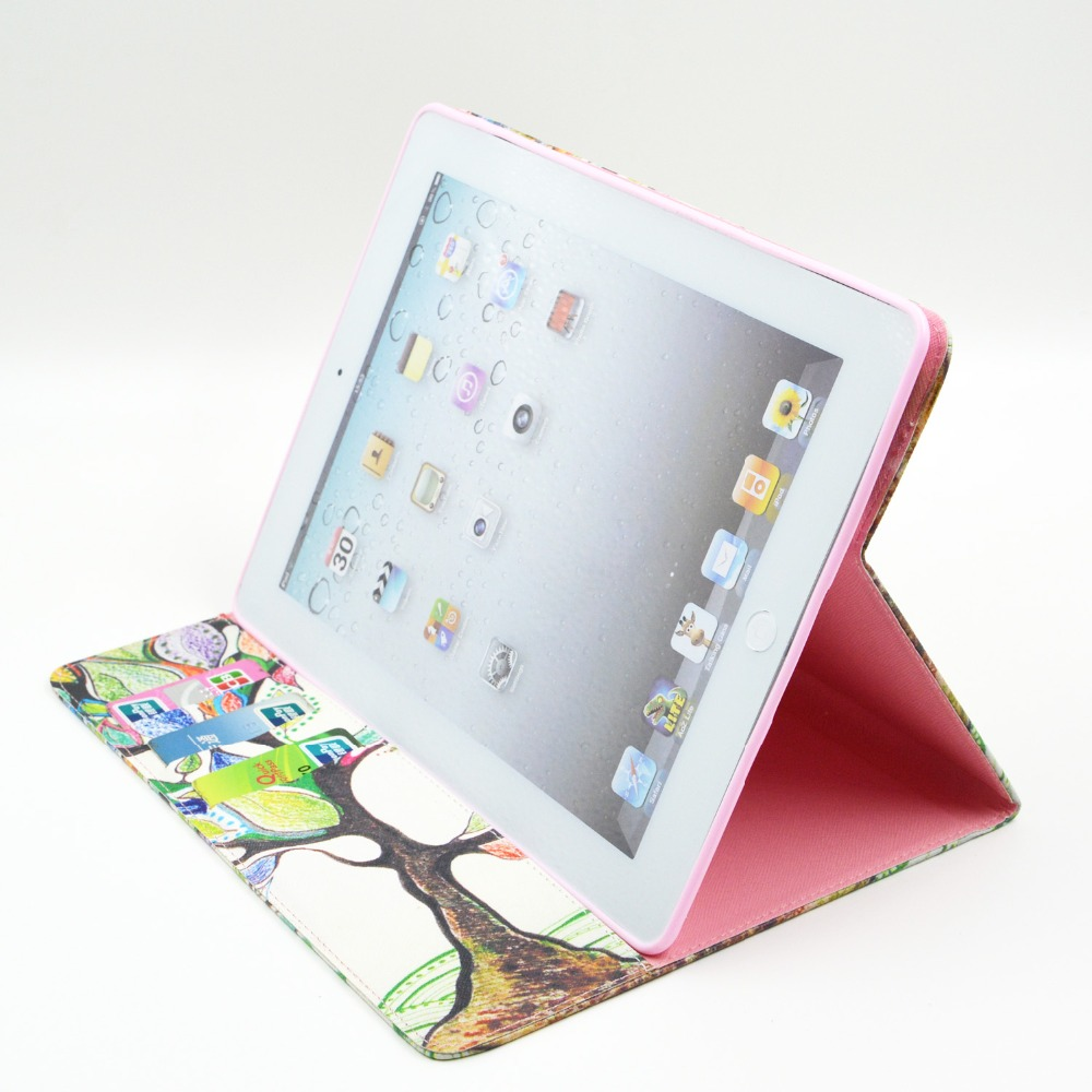 Fashion Cartoon flower tree abstract painting Wallet Card PU Leather Stand Case Cover For Ipad 2 3 4 new ipad + Film + Pen