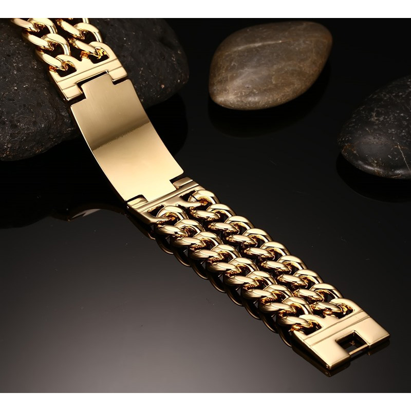 Vinterly Yellow Gold Color ID Bracelet Men 316l Stainless Steel - Fashion Jewelry - Photo 4