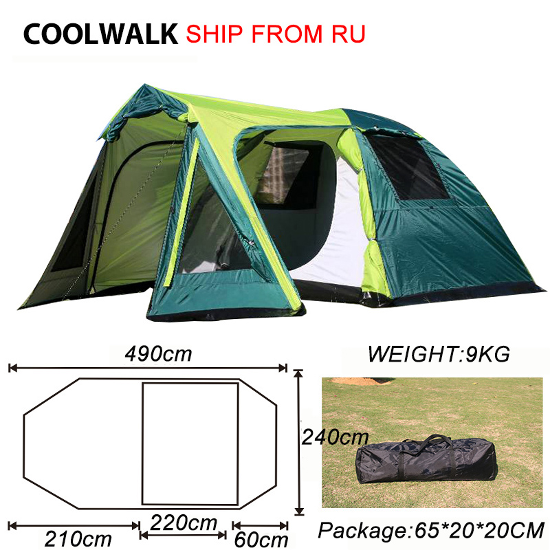 Ship From RU Camping Tent Outdoor Hiking Tent Four Season Two Door Family Tents for 3-4 Person One Bedroom and One Living Room in one person