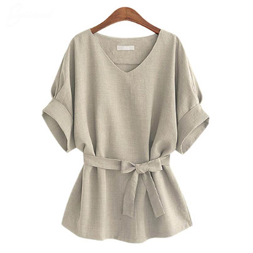 2018-Summer-5XL-Plus-Size-Women-Shirts-Linen-Tunic-Shirt-V-Neck-Big-Bow-Batwing-Tie