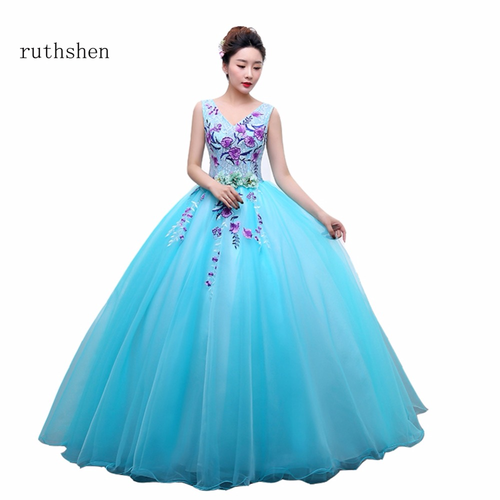 Ruthshen New Luxury Sexy V Neck Embroidery With Rose Pattern Ball Gown Floor Length Long Prom Dress Formal Dress For Party 2018
