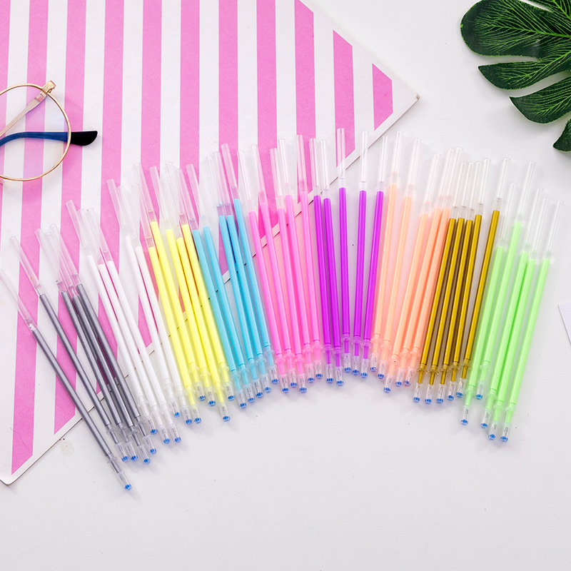 5 Pcs Colour Glitter Gel Pen Refill Kawaii Drawing Pen Refills 0.5mm Office Stationery School Student Office Supplies 9color