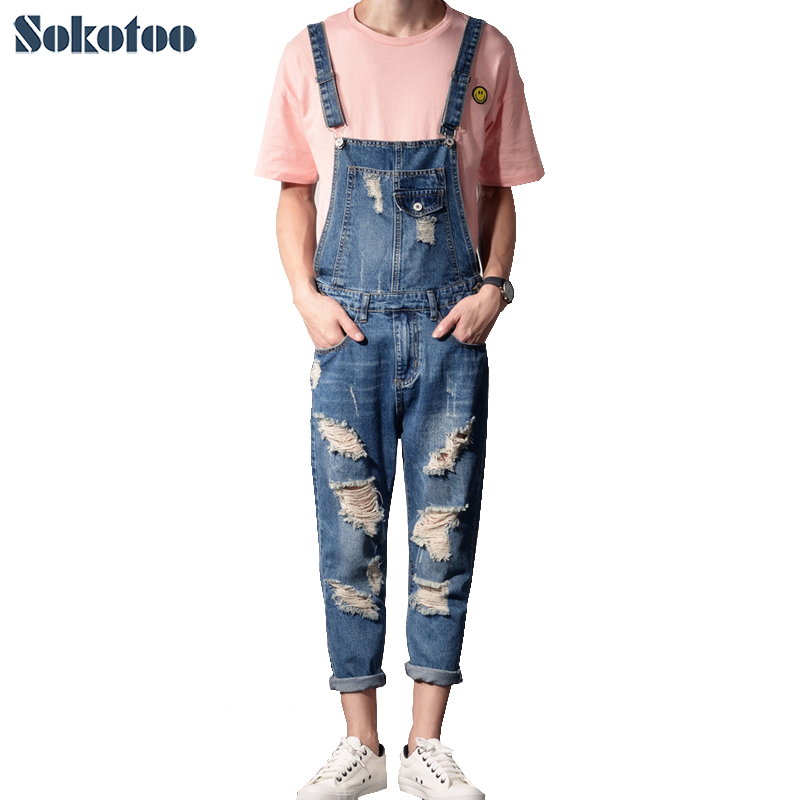 Sokotoo Men's fashion plus size ankle length pocket denim overalls Casual holes ripped crop   jeans   Slim jumpsuits