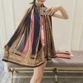 2016 Marca de Diseño de Rayas de Impresión de Seda Bufandas de La Manera bufanda de Las Mujeres de La Vendimia de Bohemia Estilo Chales Hijabs Damas Abrigos