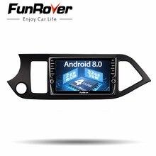 Funrover ips Android 8,0 2 din gps dvd Автомобильный мультимедийный плеер для KIA Morning Picanto левая рука автомобиля 2011-2017 Радио Стерео dvd плеер + Navi