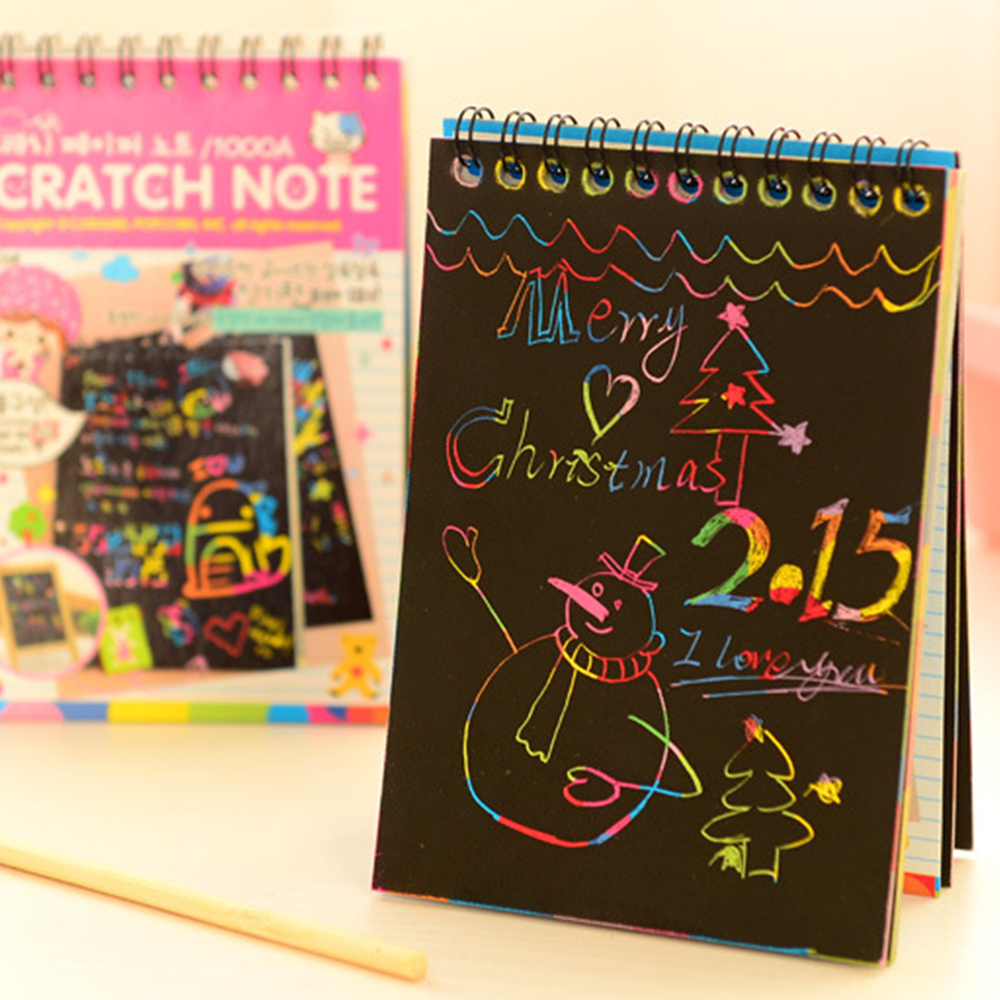 Wonderful Color Scratch Note Black Cardboard Creative School DIY Draw Sketch Notes For Kids Toy Notebook Drawing Toys Apdc11c19