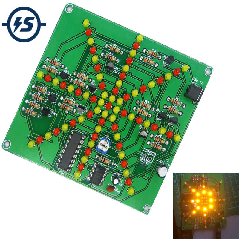 Elektronik DIY Kit Flash Light Kit 73 LED Merah Kuning Dual-Warna Berkedip Solder Praktek Papan Sirkuit PCB Pelatihan suite