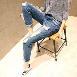CTRLCITY Boyfriend отверстия Рваные джинсы Для женщин Брюки Прохладный джинсовые Винтаж Прямые джинсы для девочек м талия Повседневное брюки