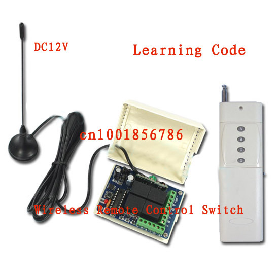 3000M  4Relay 12V wireless remote control system receiver&transmitter With Antenna 315/433MHZ Learning code output is adjustable 315 433mhz 12v 2ch remote control light on off switch 3transmitter 1receiver momentary toggle latched with relay indicator