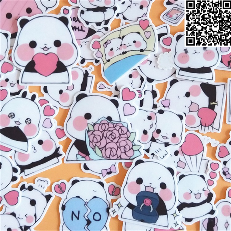 40 Pcs Cartoon Panda  Sticker For Luggage Skateboard Phone Laptop Moto Bicycle Wall Guitar/Eason Stickers/DIY Scrapbooking