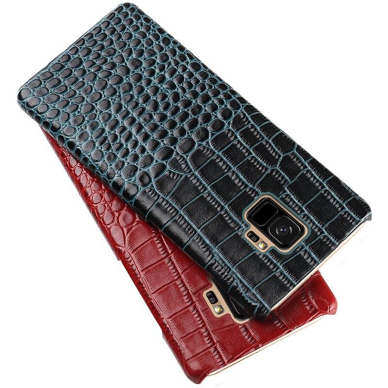 Cas de téléphone Pour Samsung Galaxy S9 Plus S6 S7 Bord S8 J5 J7 A5 A7 A8 2017 Note 8 9 crocodile Texture cuir de vache Naturel de Couverture Arrière