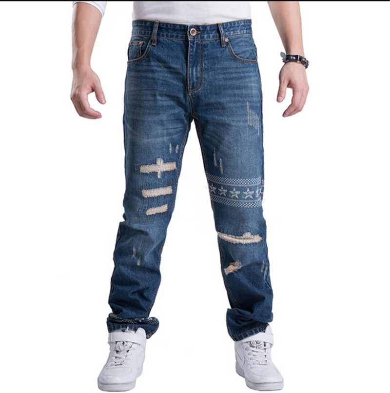 ФОТО Style Big Yards Jeans Male Tide Of New Hip Hop Baggy Jeans Colored Loose Straight Jeans Pants Skateboard Plus Size:30-46
