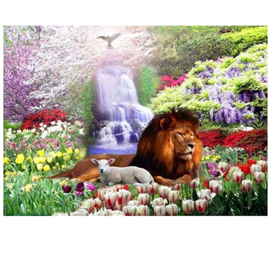 5D Diy Diamond Embroidery Lions Sheep Flowers World Mosaic Pattern cross stitch diamond Painting for Room Wall stickers Z890 in Diamond Painting Cross Stitch from Home Garden