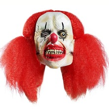 Minch Clown Masks for Masquerade Party Scary Clowns Mask Horrible Halloween Funny Ball Dress Up Props Big braids clown