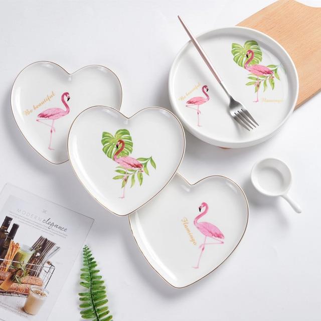 Creative Ceramic Tableware Porcelain Plate Golden Border Cartoon Flamingo Dish Plate Pink Flamingo Kitchen Dinner Plate & Creative Ceramic Tableware Porcelain Plate Golden Border Cartoon ...