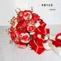 2017 Невесты Свадебный Букет Новый Дешевый Красный Свадебные Цветы Свадебные Букеты Искусственные Свадебный Букет Роза Пион