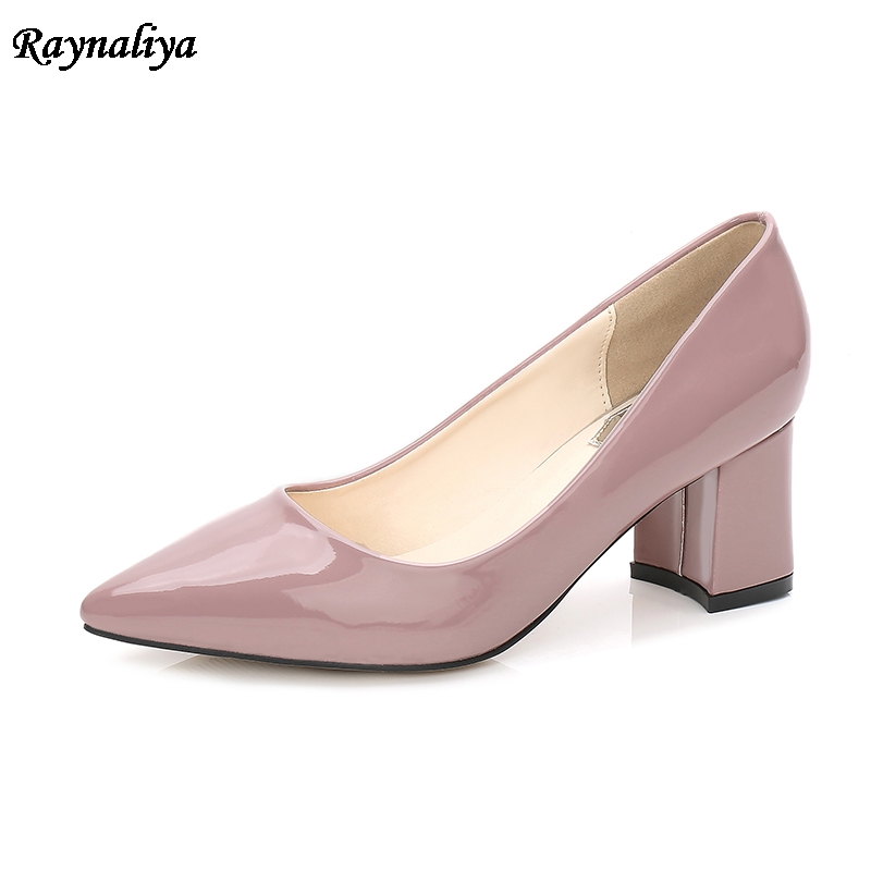 Plus Size 40-46 Women Wedding Shoes Patent Leather Square High Heels Pumps OL Office Dress Shoes Pink MS-A0048 new lepin 16009 1151pcs queen anne s revenge pirates of the caribbean building blocks set compatible legoed with 4195 children