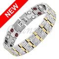 Channah 2017 Men 4in1 2-Tone Gold Silver Bracelet Titanium Magnets -ve Ions Germanium Far Infra Red Bangle Free Shipping Charm