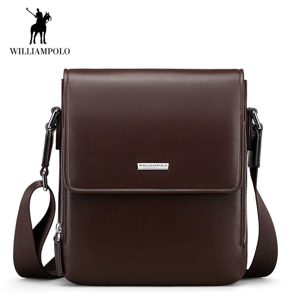 WilliamPOLO Men Shoulder Bag Crossbody Bag PU Leather Adjustable Strap Vintage Casual Sling Messenger Business Briefcase Brown недорго, оригинальная цена