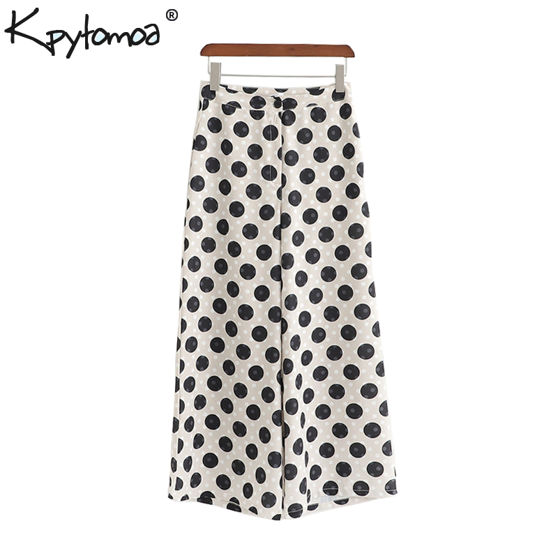Vintage Chic Polka Dot   Wide     Leg     Pants   Women 2019 Fashion High Waist Zipper Fly Pockets Ankle Trousers Casual Pantalones Mujer